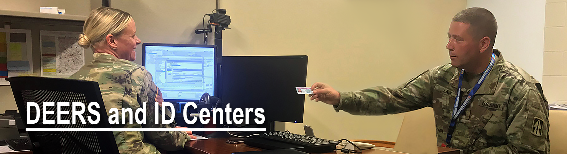 Header Image- Soldier getting ID made- DEERS and ID Centers