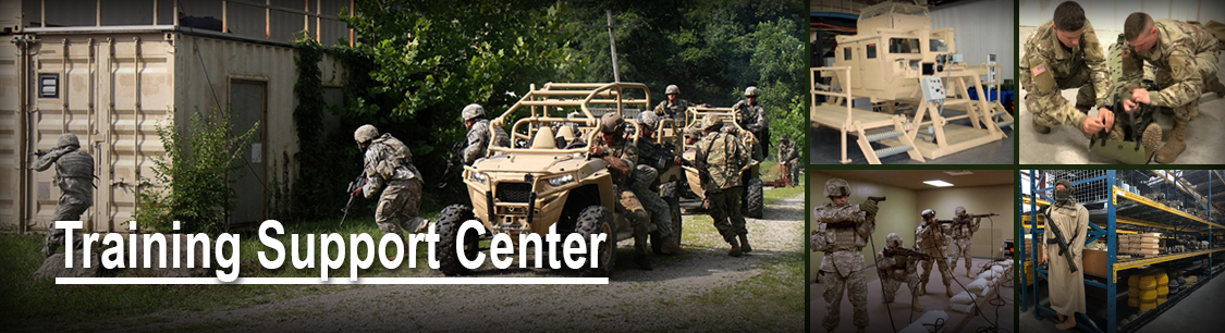 Training Support Center header with images of equipment in warehouse and in use