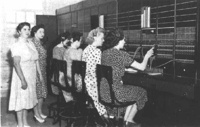 Women working the switchboard- black and white photo