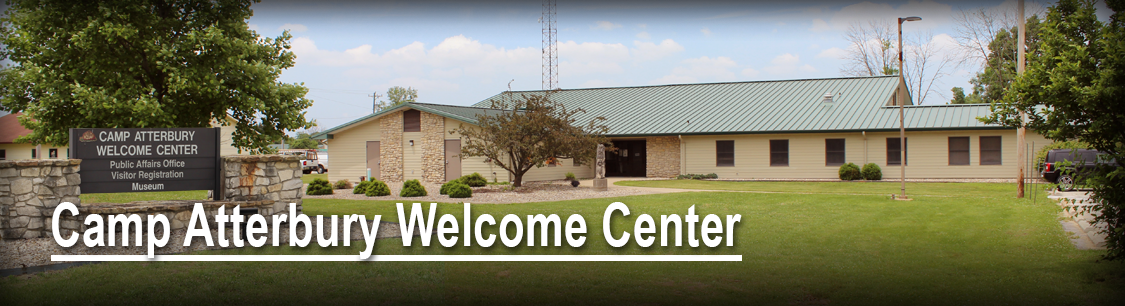 Header image- Camp Atterbury Welcome Center building- maps and directions page