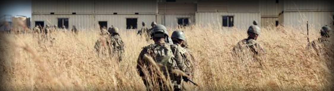 Header image showing soldiers training in a field with building in forefront