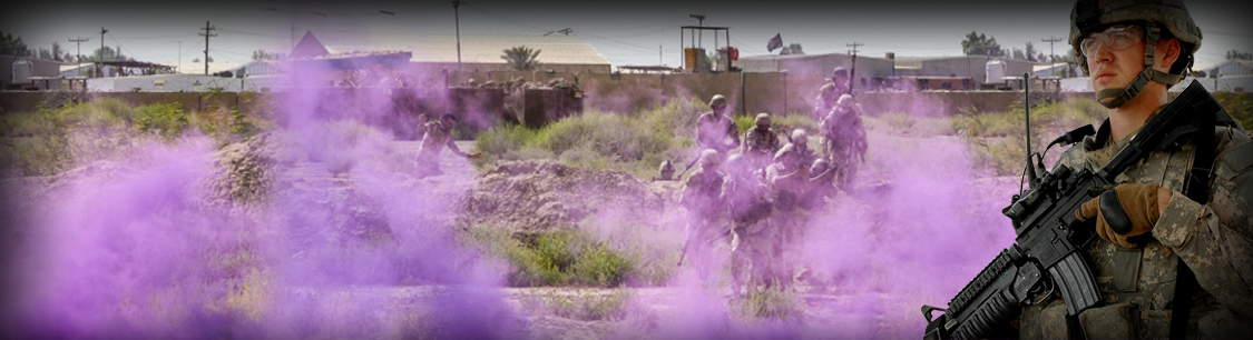 Header Image- outdoor training event showing soldiers walking through purple smoke