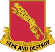 "The distinctive unit insignia (DUI) for the 138th Regiment  ""Seek and Destroy"""